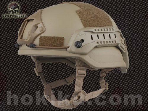 Helm Emerson MICH2002 with NVG Mount & Siderail - Brown